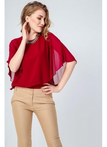 Jument Mary Kayık Yaka Şifon Garnili Yarasa Kol Bluz Kırmızı